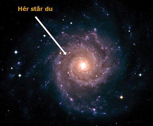 Billede af galaksen med pil til Jorden